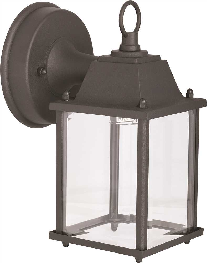 ROYAL COVE� 1-LIGHT OUTDOOR WALL LANTERN, CLEAR GLASS, 5 X 8-1/8 X 5-3/4 IN., BLACK, USES 60-WATT MEDIUM BASE LAMP*