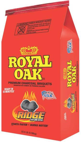 Royal Oak 192-294-046 Charcoal Briquette, 15.4 lb Bag, Opaque Black, Solid