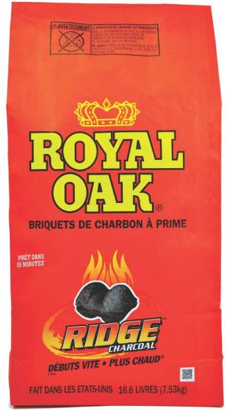 Royal Oak 192-229-252 Charcoal Briquette, 16.6 lb Can, Opaque Black, Solid