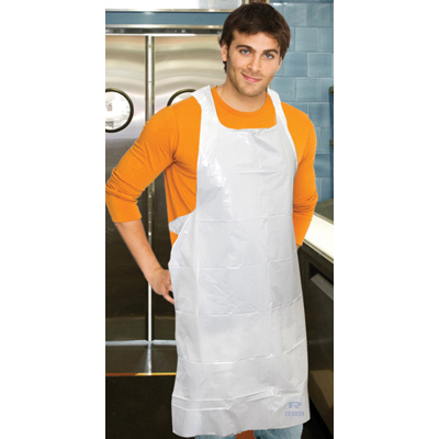 Poly Apron, White, 28 in. x 46 in., 100/Pack, One Size Fits All, 10 Pack/Carton