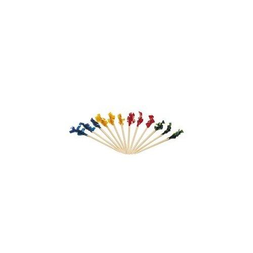 "Club Cellophane-Frill Wood Picks, 4"", Assorted, 10000/Carton"