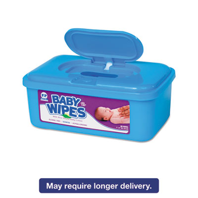 Baby Wipes Tub, Scented, White, 80/Tub, 12 Tubs/Carton
