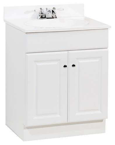RSI HOME PRODUCTS RICHMOND BATHROOM VANITY CABINET WITH TOP, FULLY ASSEMBLED, 2 DOOR, WHITE, 24X31X18
