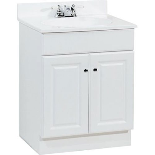 RSI HOME PRODUCTS RICHMOND BATHROOM VANITY CABINET WITH TOP, FULLY ASSEMBLED, 2 DOOR, WHITE, 24X31X18""