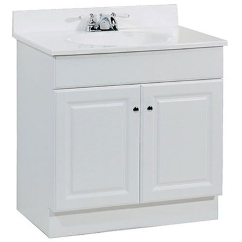 RSI HOME PRODUCTS RICHMOND BATHROOM VANITY CABINET WITH TOP, FULLY ASSEMBLED, 2 DOOR, WHITE, 30X31X18""
