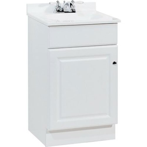 RSI HOME PRODUCTS RICHMOND BATHROOM VANITY CABINET WITH TOP, FULLY ASSEMBLED, 1 DOOR, WHITE, 18X31X16 IN.