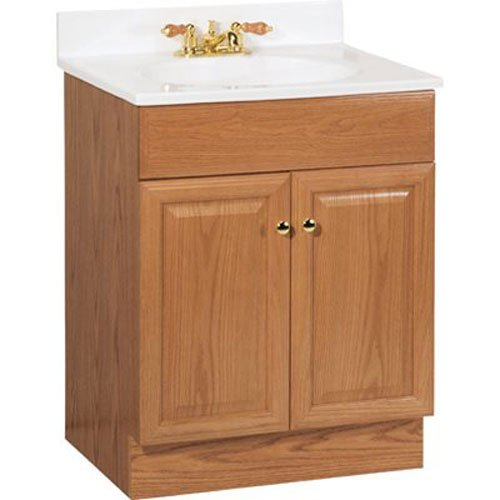 RSI HOME PRODUCTS RICHMOND BATHROOM VANITY CABINET WITH TOP, FULLY ASSEMBLED, 2 DOOR, OAK FINISH, 24X31X18""