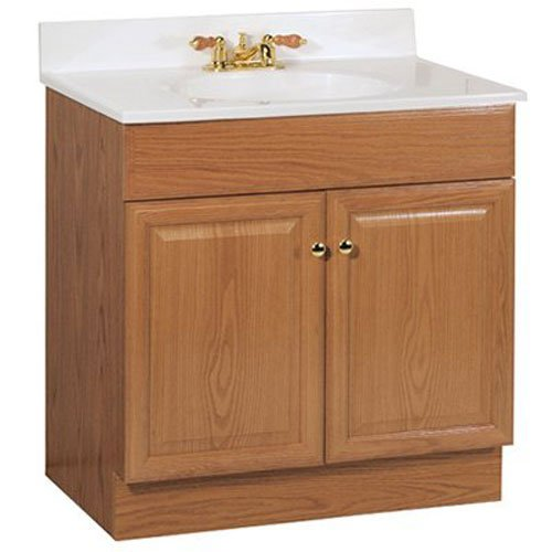 RSI HOME PRODUCTS RICHMOND BATHROOM VANITY CABINET WITH TOP, FULLY ASSEMBLED, 2 DOOR, OAK FINISH, 30X31X18""
