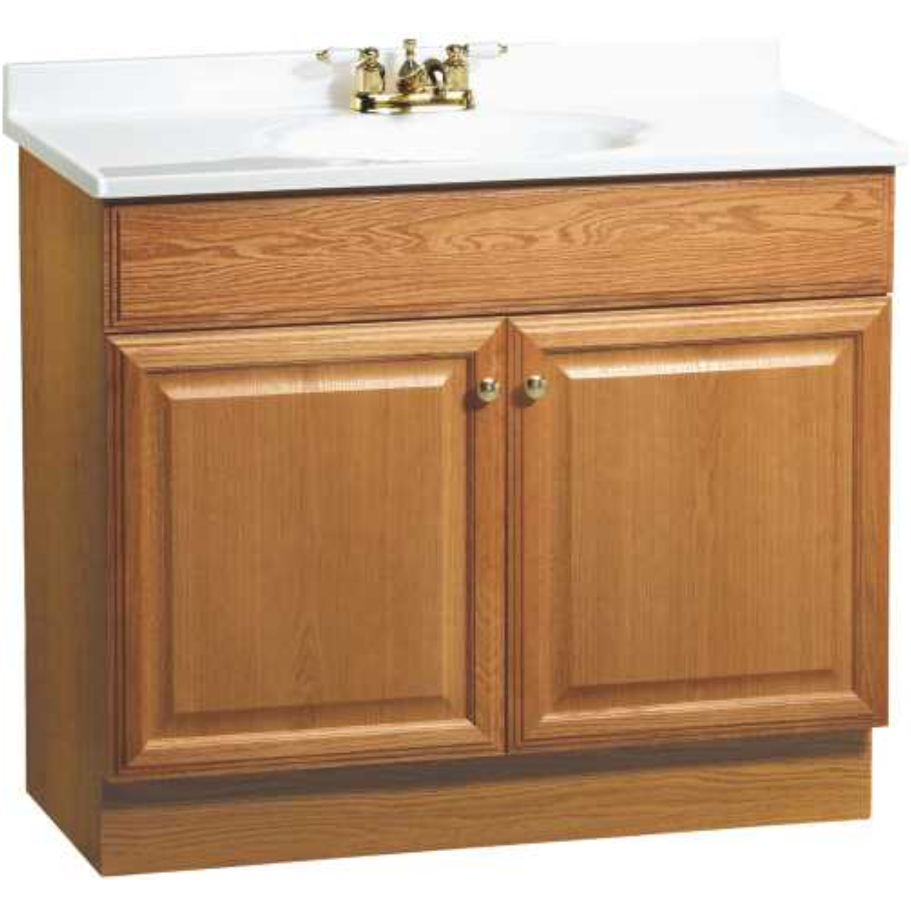 RSI HOME PRODUCTS RICHMOND BATHROOM VANITY CABINET WITH TOP, FULLY ASSEMBLED, 2 DOOR, OAK FINISH, 36 X 31X 18""