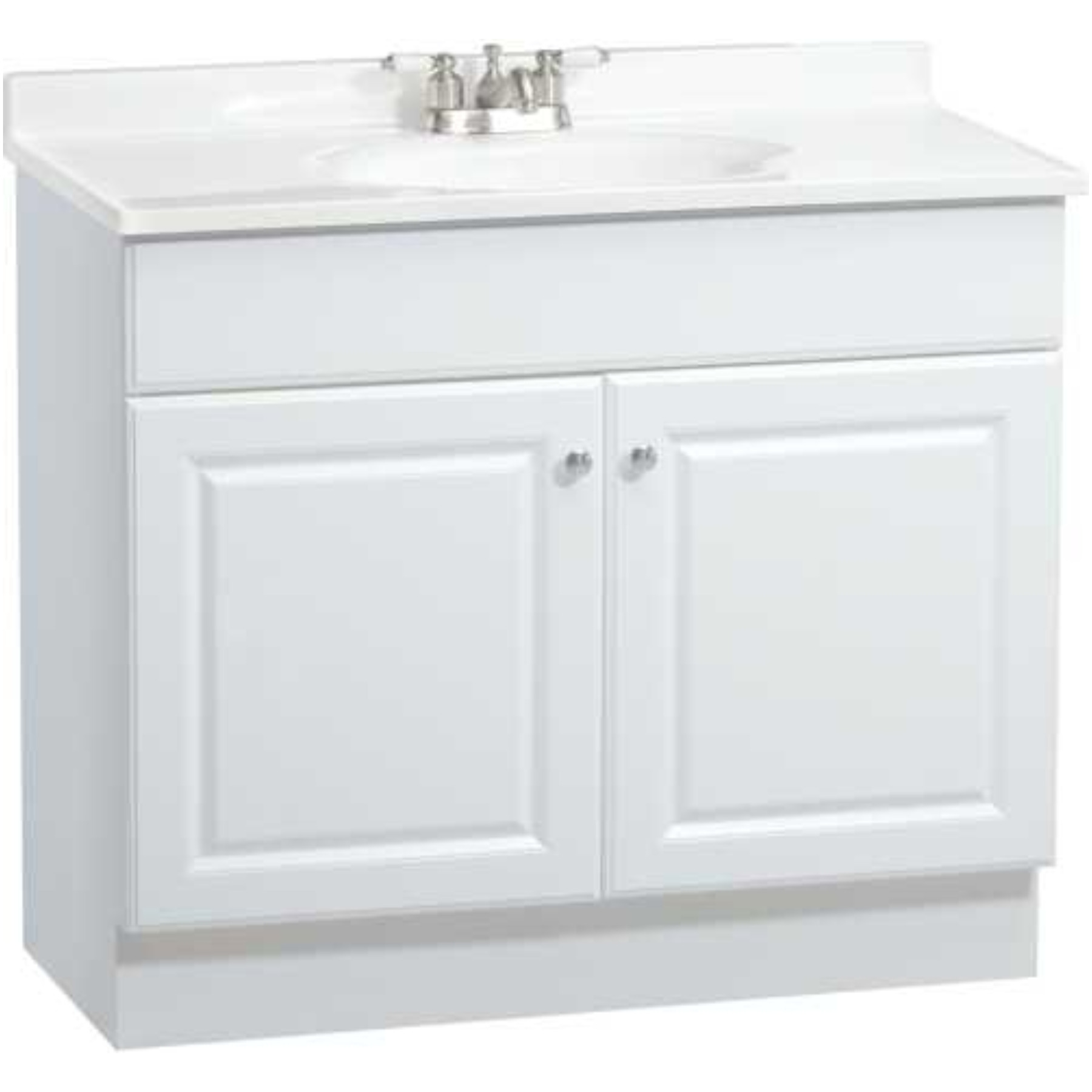 RSI HOME PRODUCTS RICHMOND BATHROOM VANITY CABINET WITH TOP, FULLY ASSEMBLED, 2 DOOR, WHITE, 36 X 31 X18""