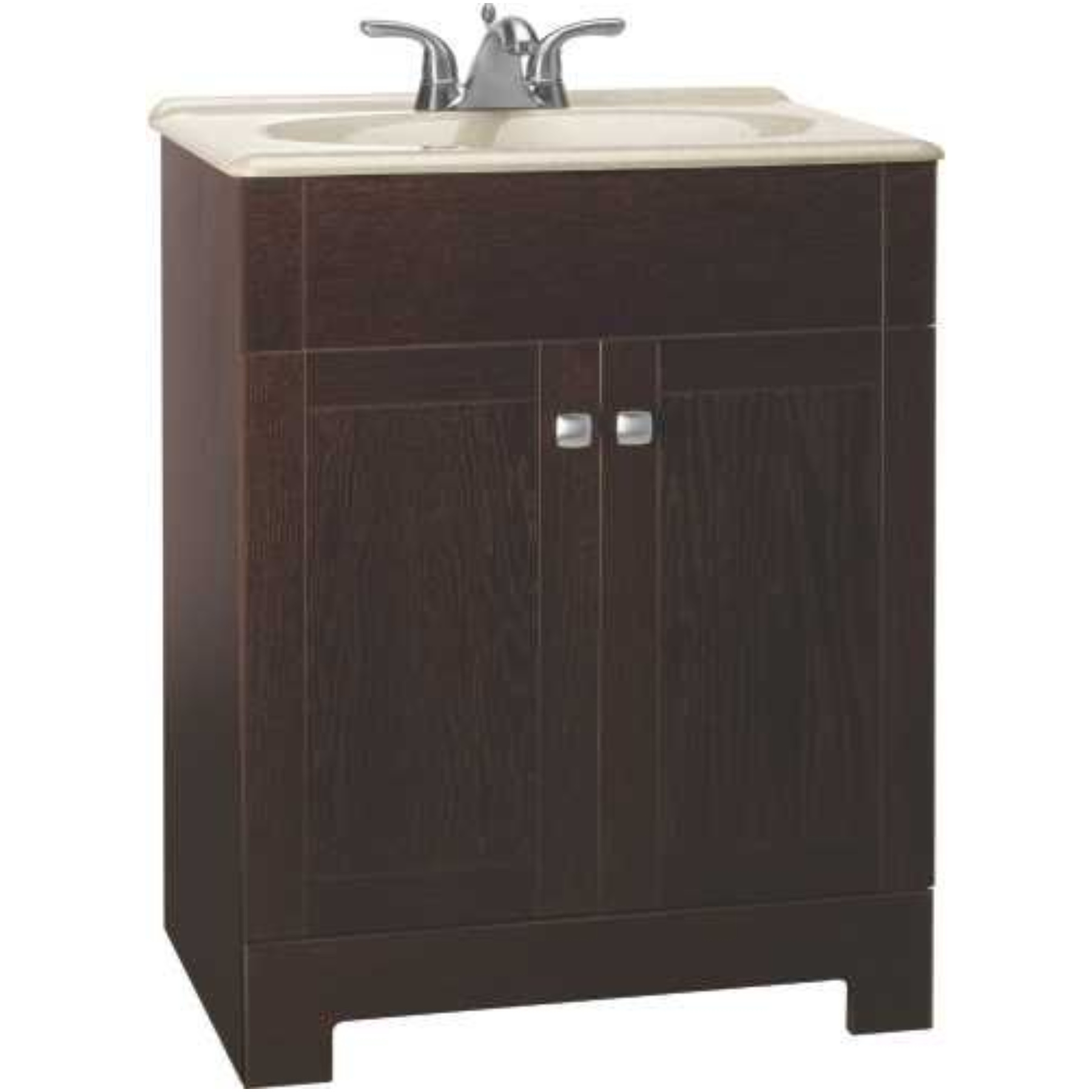 RSI HOME PRODUCTS SEDONA COMBO BATHROOM VANITY CABINET WITH BEIGE SST TOP, FULLY ASSEMBLED, JAVA, 30""