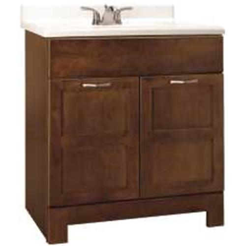 """RSI HOME PRODUCTS CHANDLER BATHROOM VANITY CABINET, FULLY ASSEMBLED, COGNAC, 30X21X33-1/2"""""""