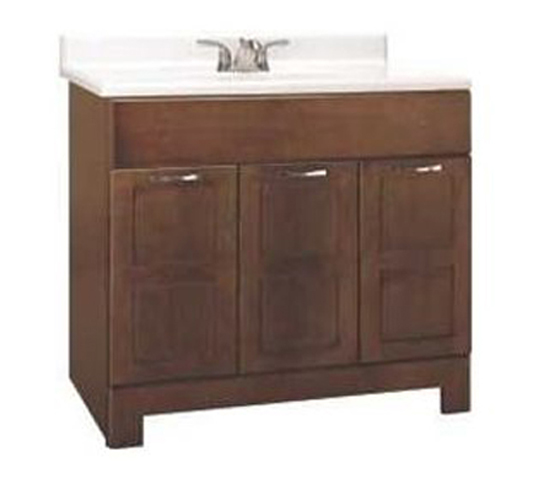 RSI HOME PRODUCTS CHANDLER BATHROOM VANITY CABINET, FULLY ASSEMBLED, COGNAC, 36X21X33-1/2""