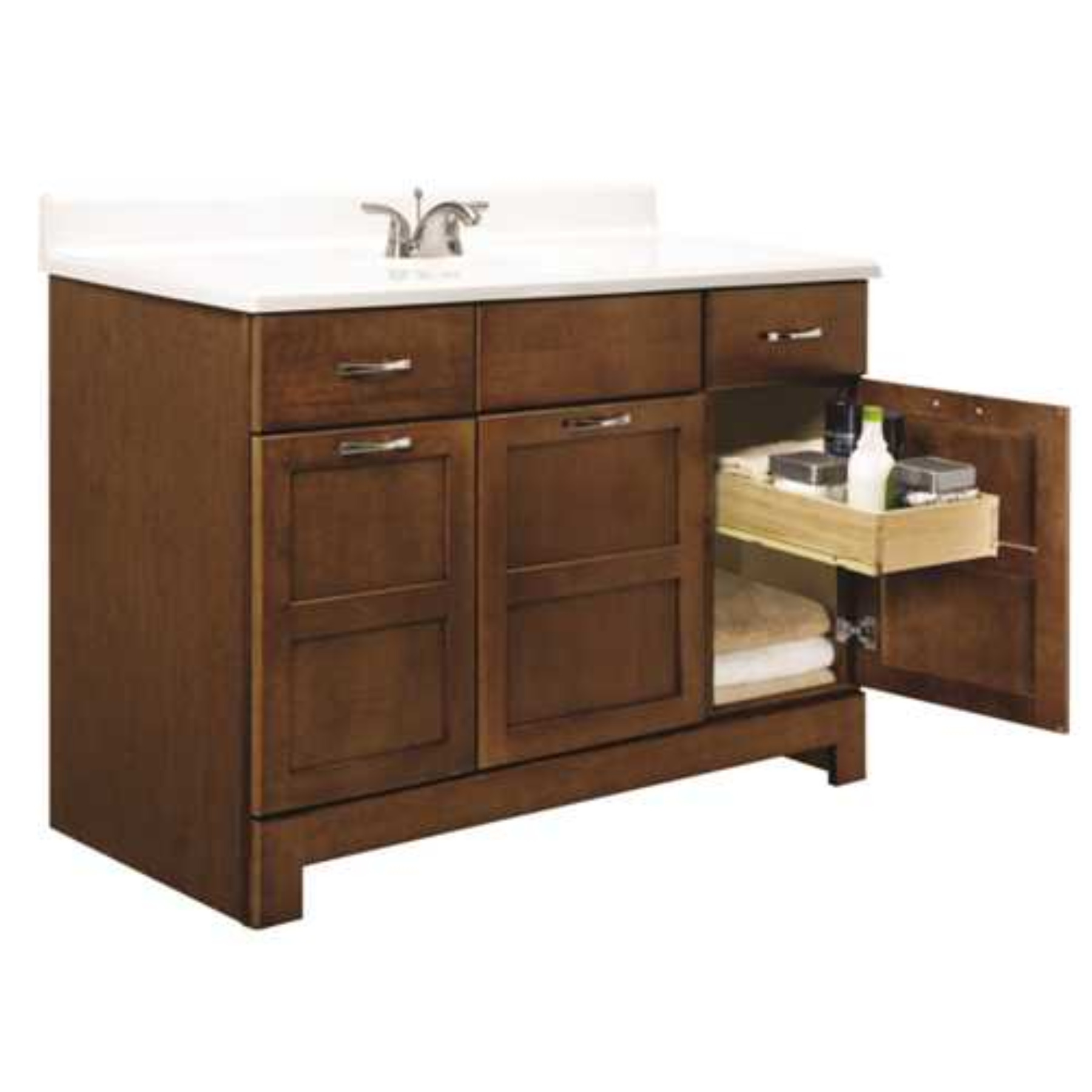 RSI HOME PRODUCTS CHANDLER BATHROOM VANITY CABINET, FULLY ASSEMBLED, COGNAC, 48X21X33-1/2""
