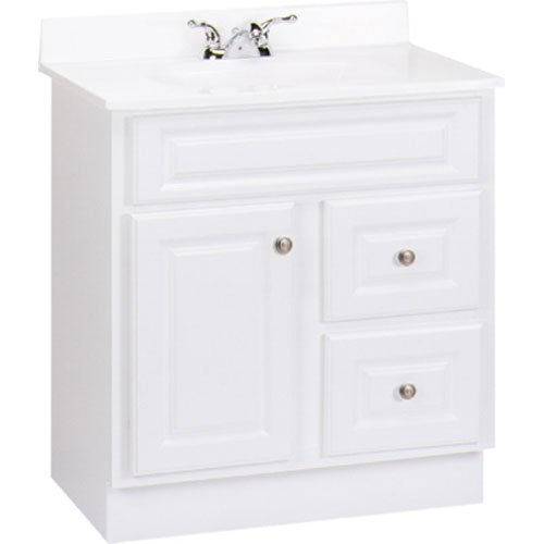RSI HOME PRODUCTS HAMILTON BATHROOM VANITY CABINET, FULLY ASSEMBLED, 2 DRAWER, WHITE, 30X32-1/2X21""
