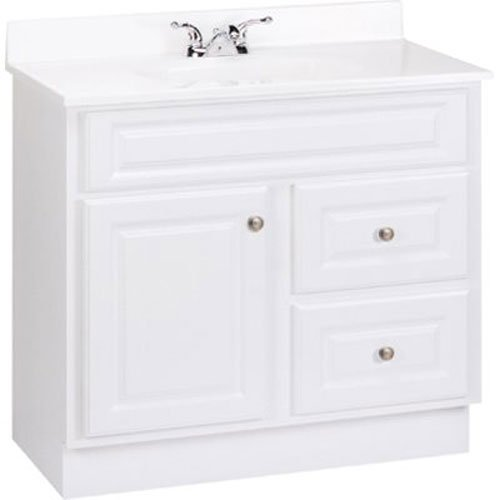 RSI HOME PRODUCTS HAMILTON BATHROOM VANITY CABINET, FULLY ASSEMBLED, 2 DRAWER, WHITE, 36X32-1/2X21""