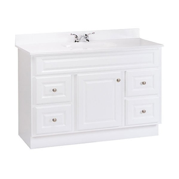 RSI HOME PRODUCTS HAMILTON BATHROOM VANITY CABINET, FULLY ASSEMBLED, 4 DRAWER, WHITE, 48X32-1/2X21""