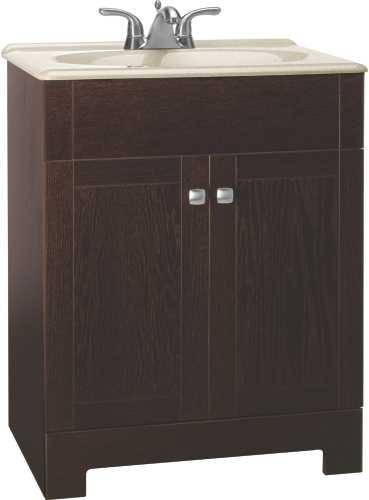 RSI HOME PRODUCTS SEDONA COMBO BATHROOM VANITY CABINET WITH BEIGE SST TOP, FULLY ASSEMBLED, JAVA, 24""