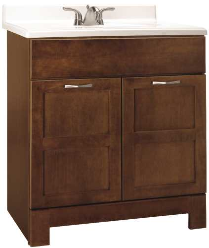 RSI HOME PRODUCTS CHANDLER BATHROOM VANITY CABINET, FULLY ASSEMBLED, COGNAC, 30X21X33-1/2