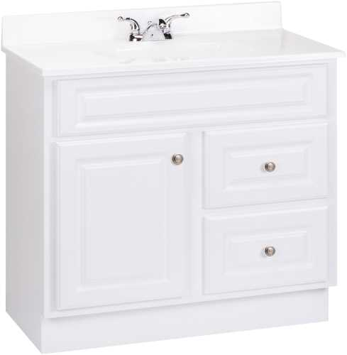 RSI HOME PRODUCTS HAMILTON BATHROOM VANITY CABINET, FULLY ASSEMBLED, 2 DRAWER, WHITE, 36X32-1/2X21