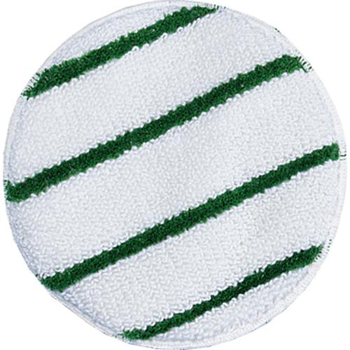 """Low Profile Scrub-Strip Carpet Bonnet, 17"""" Diameter, White/Green, 5/Carton"""