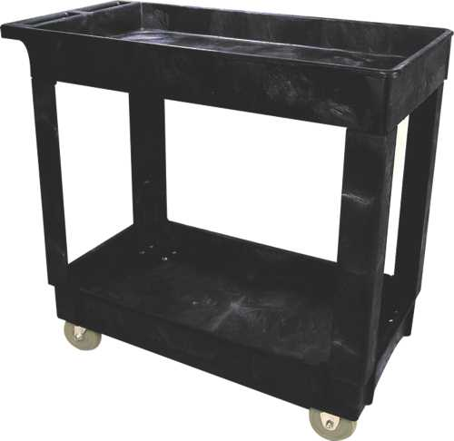 "2 Shelf Utility Cart 5"" Caster Black"