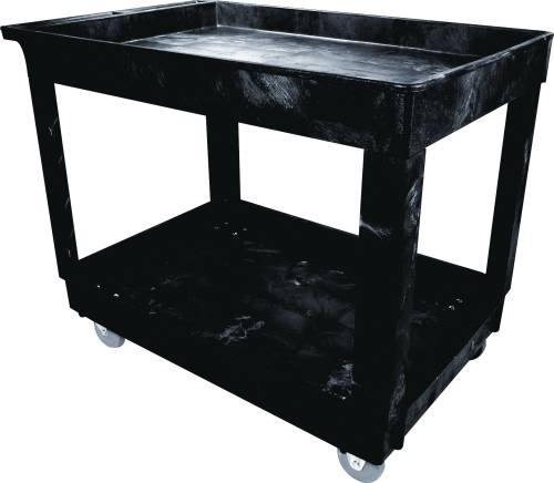 "2 Shelf Utility Cart, 5"" Casters, Medium, Black"