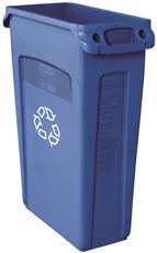 SLIM JIM� TRASH CAN AND RECYCLING CONTAINER WITH VENTING CHANNELS, BLUE, 23 GALLONS