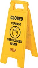 FLOOR SIGN, MULTI-LINGUAL, CLOSED IMPRINTED, YELLOW, 25 IN.