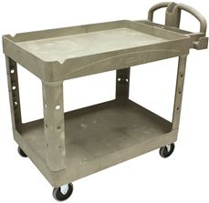 UTILITY CART HEAVY-DUTY 2-SHELF BEIGE