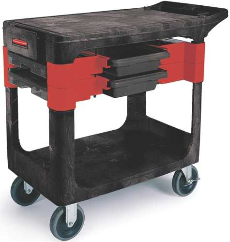 RUBBERMAID 6180 HEAVY-DUTY TRADES CART WITH 5 IN. CASTERS, INCLUDES 2 PARTS BOXES AND 4 PARTS BINS, BLACK