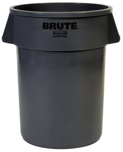 BRUTE� HEAVY-DUTY ROUND TRASH CAN ROUND WITHOUT LID, GRAY, 32 GALLONS