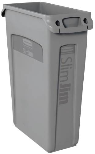 SLIM JIM� TRASH CAN WITH VENTING CHANNELS, GRAY, 23 GALLONS