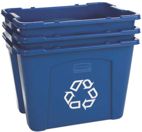 RUBBERMAID� COMMERCIAL STACKABLE RECYCLING CONTAINER, BLUE, 14 GALLONS