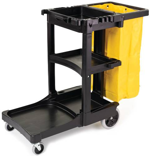 JANITOR CART WITH ZIPPERED YELLOW VINYL BAG, BLACK