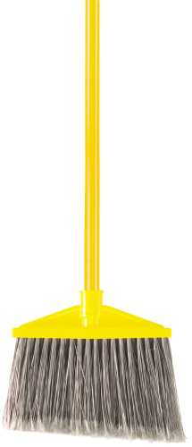 BROOM ANGLED WITH VINYL COATED METAL HANDLED POLYPROPYLENE FILL GRAY