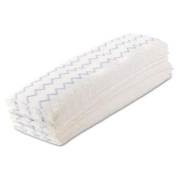 "Disposable Microfiber Mop, 18"", White/Blue, Wet/Dry Use, 150/Carton"