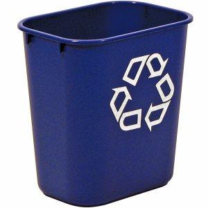 Small Deskside Recycling Container, Rectangular, Plastic, 13.625qt, Blue