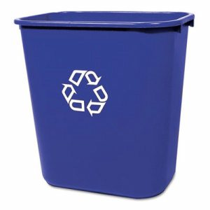 Medium Deskside Recycling Container, Rectangular, Plastic, 28.125qt, Blue