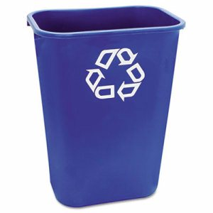 Large Deskside Recycle Container w/Symbol, Rectangular, Plastic, 41.25qt, Blue
