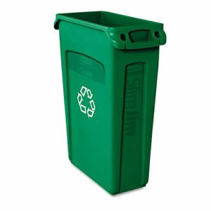 Slim Jim Recycling Container w/Venting Channels, Plastic, 23gal, Green