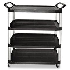 Open Sided Utility Cart, Four-Shelf, 40-5/8w x 20d x 51h, Black