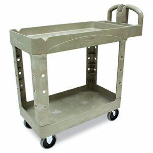 Heavy-Duty Utility Cart, Two-Shelf, 17-1/8w x 38-1/2d x 38-7/8h, Beige
