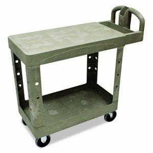 Flat Shelf Utility Cart, Two-Shelf, 19-1/5w x 37-7/8d x 33-1/3h, Beige