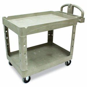 Heavy-Duty Utility Cart, Two-Shelf, 25 1/4w x 44d x 39h, Beige