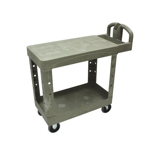 Flat Shelf Utility Cart, Two-Shelf, 25-1/4w x 44d x 38-1/8h, Beige