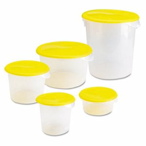 Round Storage Containers, 2qt, 8 1/2dia x 4h, Clear