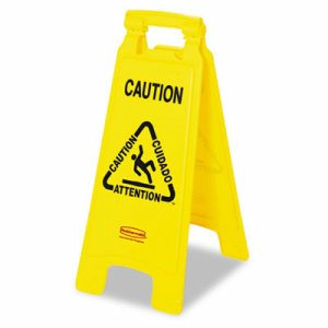 "Multilingual ""Caution"" Floor Sign, Plastic, 11 x 1 1/2 x 26, Bright Yellow"