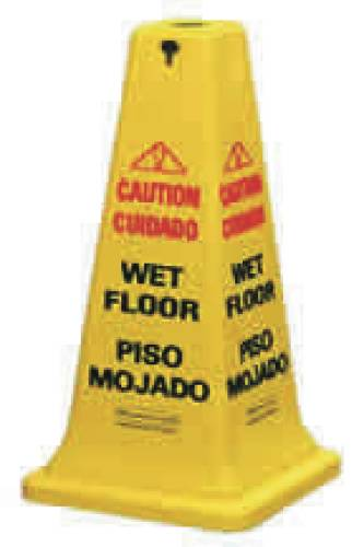 Four-Sided Caution, Wet Floor Yellow Safety Cone, 12 1/4 x 12 1/4 x 36h
