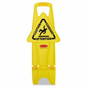 Stable Multi-Lingual Safety Sign, 13w x 13 1/4d x 26h, Yellow